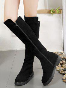 0239b8d2a9 45% OFF] 2019 Side Zipper Low Heel Knee High Boots In BLACK | ZAFUL