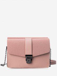 حقيبة كروسبودي من الجلد المصنع مزدوجة الجانبين مع حزام السلسلة - زهري