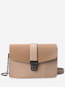 حقيبة كروسبودي من الجلد المصنع مزدوجة الجانبين مع حزام السلسلة - كاكي