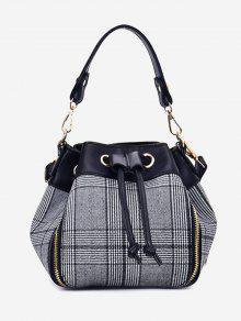 سلسلة منقوشة حقيبة يد مع حزام - رمادي