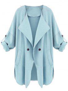 معطف الخندق جانب الانقسام بزر واحد - الضوء الأزرق Xl