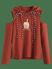Hoodie Shoulder Ladrillo L Graphic Cream Cold Rojo Ice xOBzvz