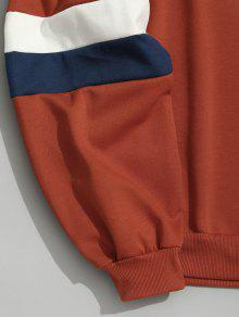 Naranja Patr M 243;n Color Con Bloque Bolsillos Capucha De 60nad4wx0q