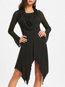 Vestido Convertible Collar Midi Handkerchief - Preto 2xl