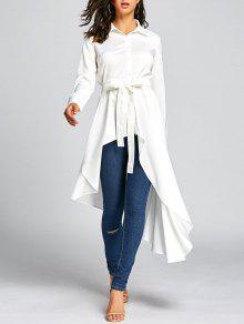 ارتفاع منخفض تنحنح قميص مع حزام التعادل - أبيض Xl