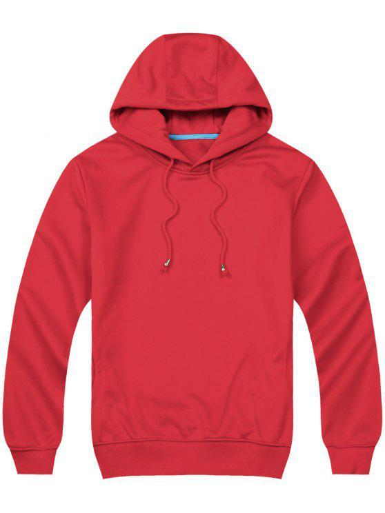 Felpa Con Cappuccio Pullover Con Tasche Laterali - Rosso XL