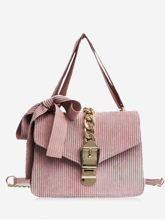 outfit Buckle Strap Bow Chain Crossbody Bag - PINK