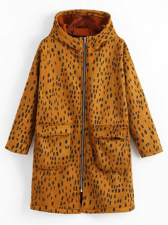 womens Zip Up Leopard Hooded Coat - BROWN ONE SIZE