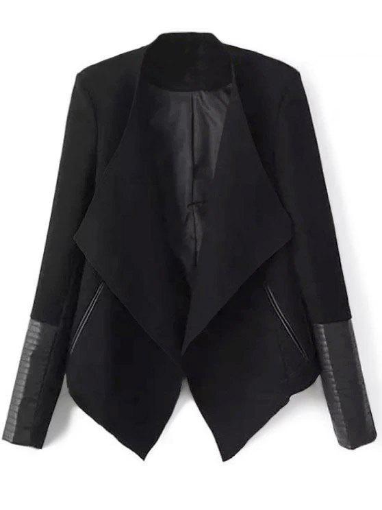 unique Faux Leather Panel Asymmetric Draped Jacket - BLACK L