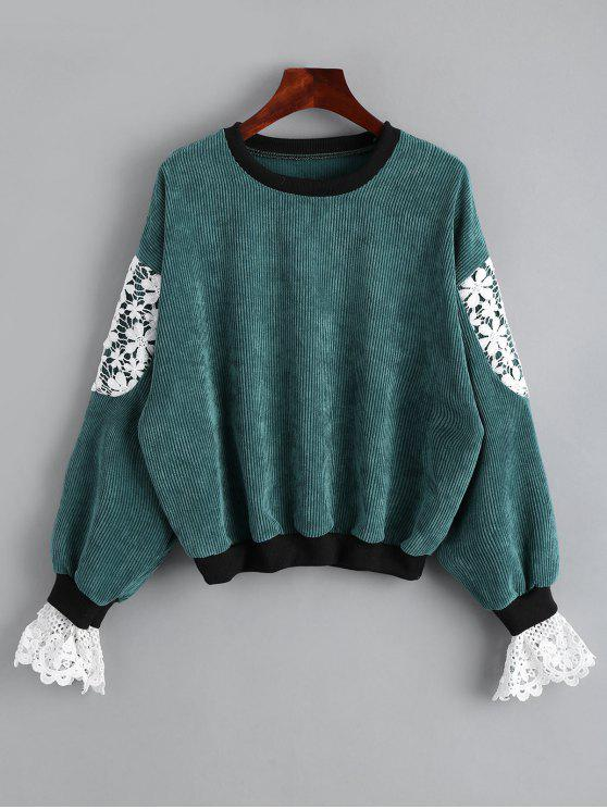outfit Crew Neck Lace Panel Sweatshirt - GREEN ONE SIZE