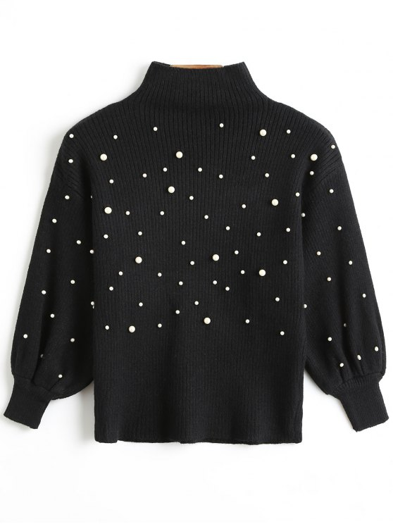 sale Faux Pearl High Collar Puff Sleeve Sweater - BLACK ONE SIZE