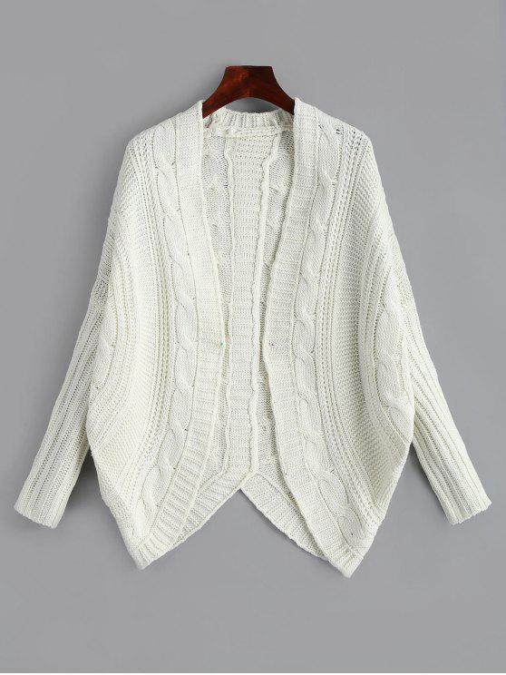 Dolman Sleeve Asymmetric Cable Knit Cardigan OFF-WHITE: Sweaters ...