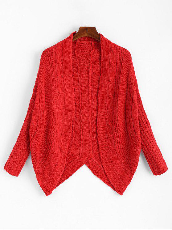 Dolman Sleeve Asymmetric Cable Knit Cardigan RED: Sweaters ONE ...