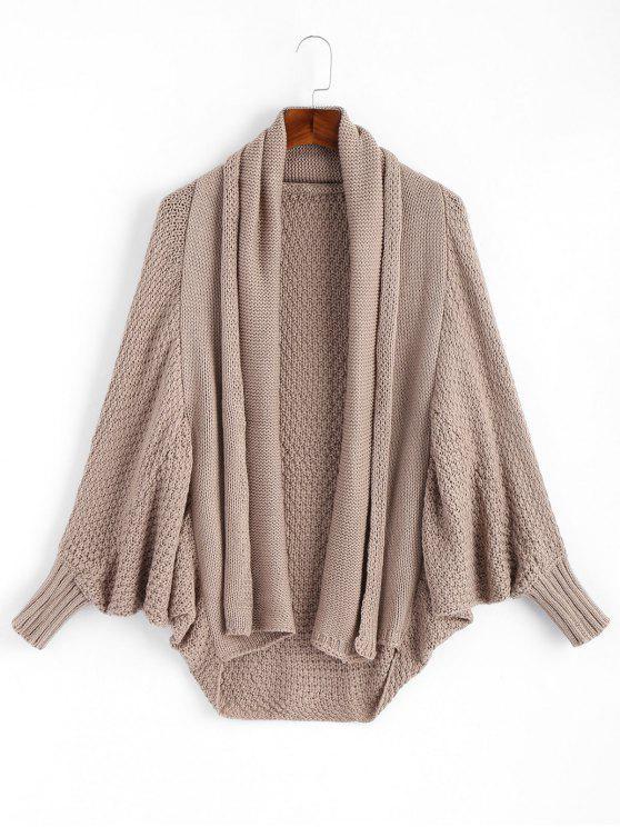 affordable Shawl Collar Dolman Sleeve Loose Knit Cardigan - KHAKI ONE SIZE
