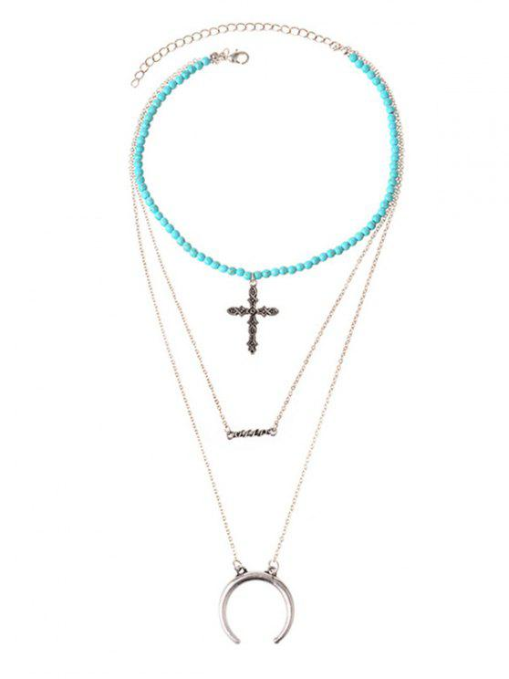 ladies Faux Turquoise Moon Crucifix Layered Necklace - SILVER