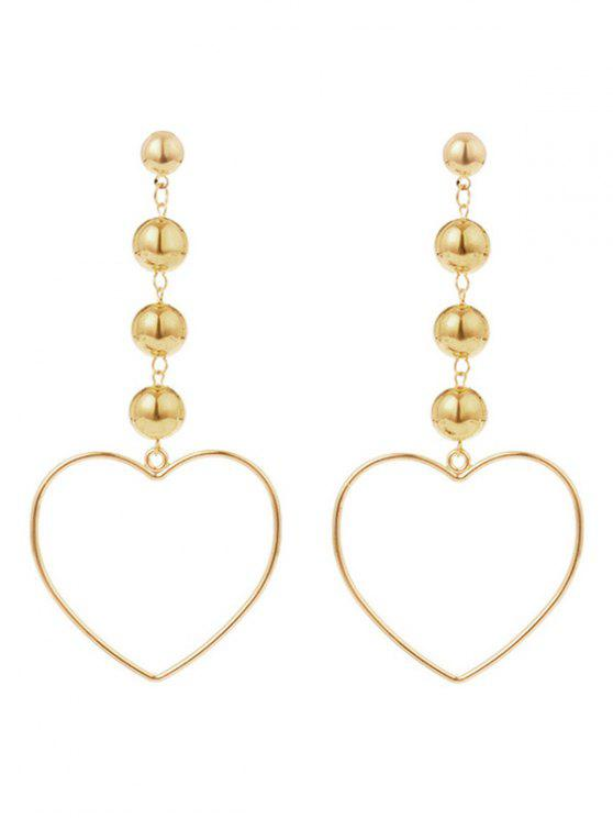 hot Hollow Out Heart Shape Drop Earrings - GOLDEN
