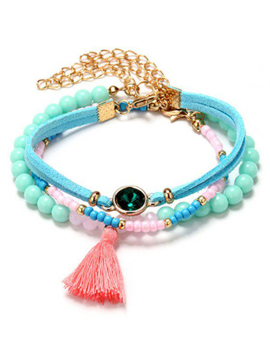 fashion Faux Emerald Tassel Charm Beaded Bracelet Set - COLORMIX