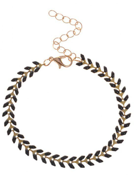 fancy Metal Leaf Chain Bracelet - BLACK