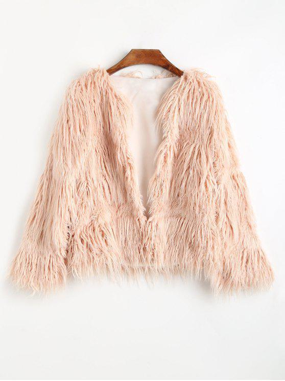 women's Faux Fur Open Front Coat - PINKBEIGE XL