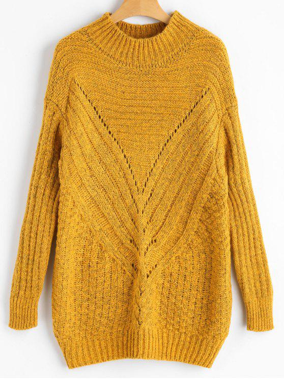 ladies High Neck Hollow Out Chunky Sweater - GINGER ONE SIZE