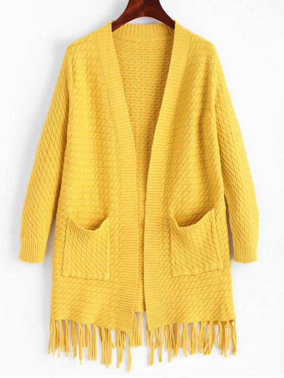 Fringed Open Cardigan With Pockets YELLOW: Sweaters ONE SIZE | ZAFUL