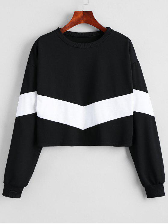 ladies Cropped Two Tone Sweatshirt - WHITE AND BLACK S