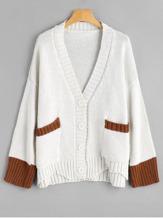 Button Up Plunging Neck Contrast Cardigan OFF-WHITE: Sweaters ONE ...