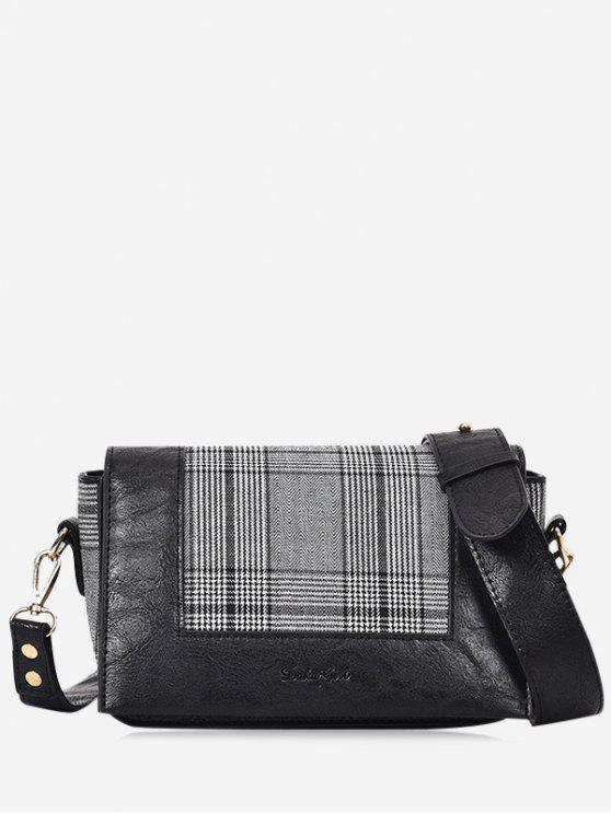 Borsa a tracolla Plaid Cross - Nero