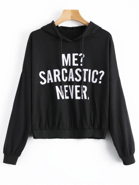 online Me Sarcastic Never Graphic Hoodie - BLACK M