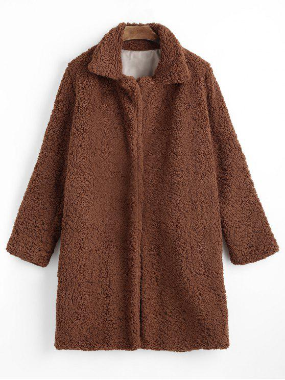affordable Shearling Coat with Pockets - BROWN M