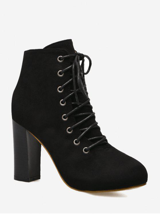 a0ba88a2c300 40% OFF  2019 Lace Up High Heel Boots In BLACK