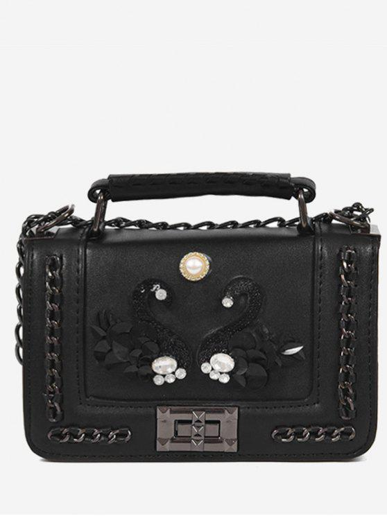 fashion Rhinestone Swan Faux Pearl Handbag - BLACK