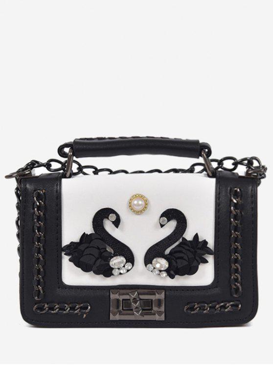sale Rhinestone Swan Faux Pearl Handbag - WHITE