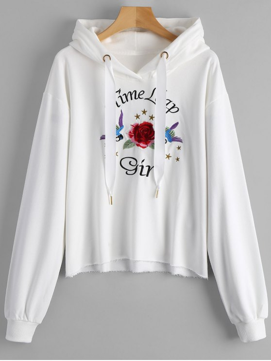 Letter and floral embroidered hoodie white sweatshirts l