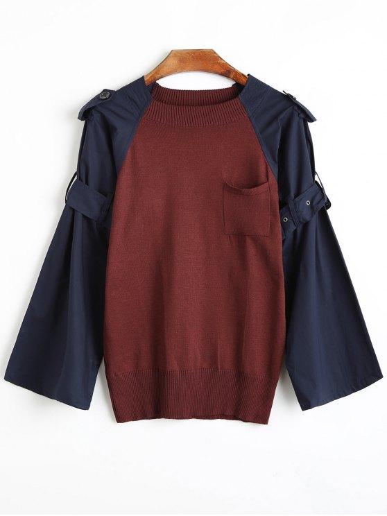 لباس المحبوك راجلان الأكمام مربوط - عنابي اللون مقاس واحد