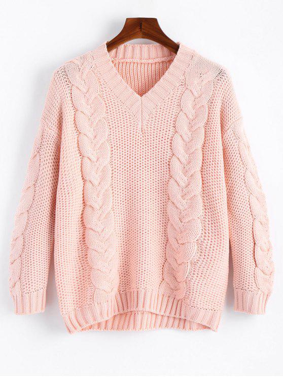 Cable Knit V Neck Chunky Sweater PINK: Sweaters ONE SIZE | ZAFUL