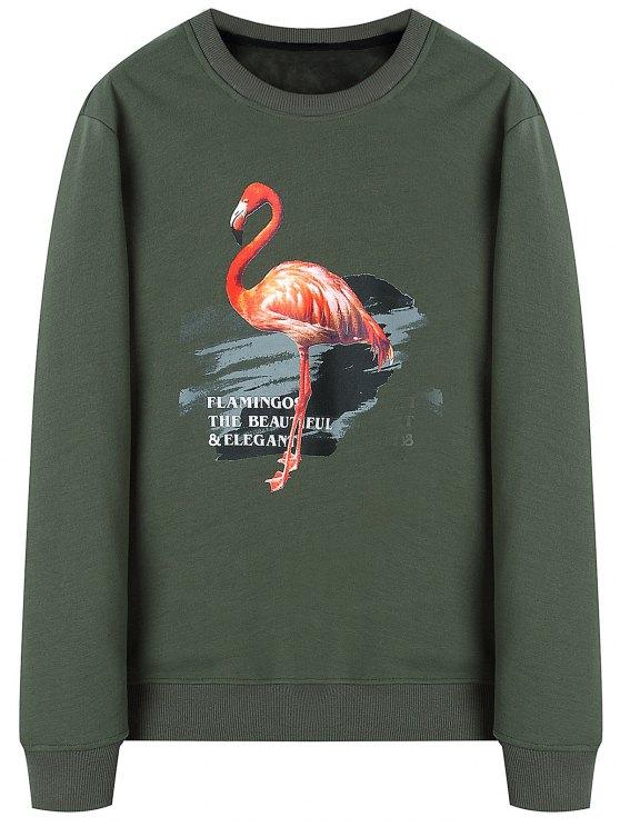 fashion Flamingo Woolen Lining Sweatshirt - ARMY GREEN XL