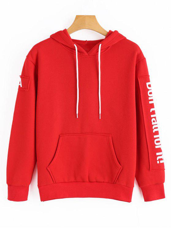 outfit Drawstring Contrast Letter Hoodie - RED ONE SIZE