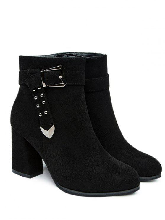 unique Buckled Strap Ankle Boots - BLACK 40