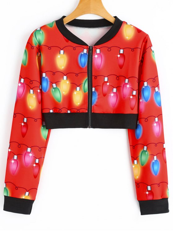women cropped printed christmas jacket red m - Christmas Jackets