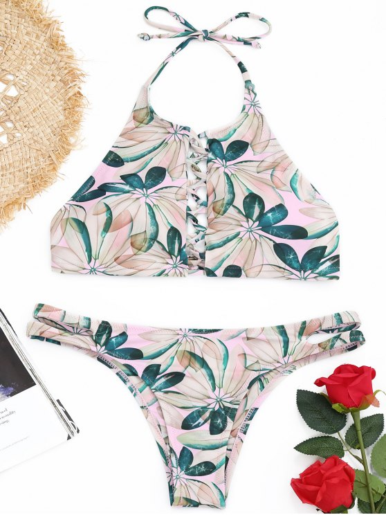 Leaf Print Riemchen High Neck Bikini Set - COLORMIX  M