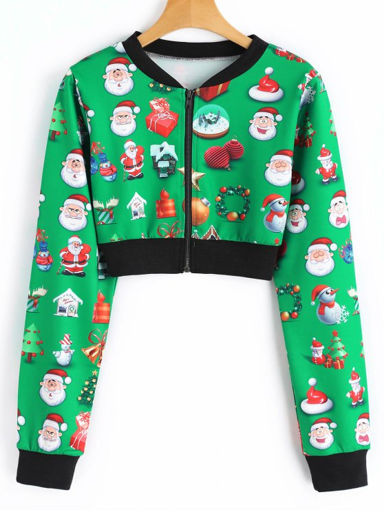 chic cropped printed christmas jacket green l - Christmas Jackets