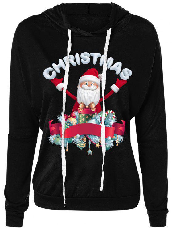 Sudadera con cuello redondo de Santa Claus Drawsring de Navidad - Negro M