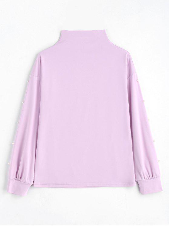 Suéter de Gola Alta com Pérolas Sintéticas - Roxo Claro S