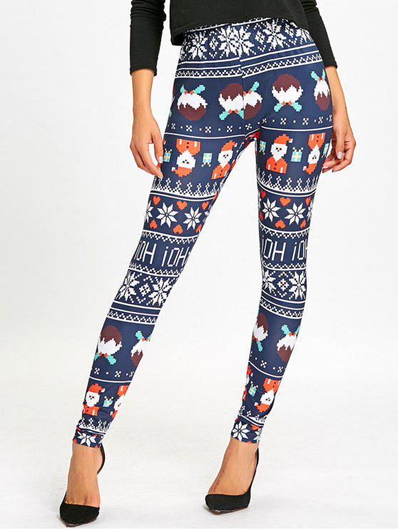 women's Christmas Allover Print High Waist Leggings - DEEP BLUE M
