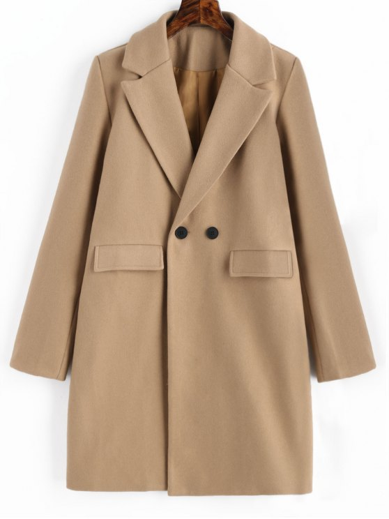 trendy Longline Flap Pockets Wool Blend Coat - CAMEL S