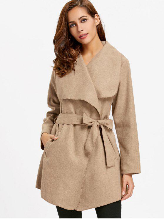women Waterfall Coat with Tie Belt - KHAKI XL