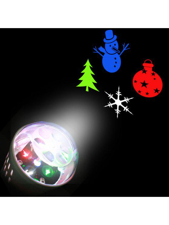 latest Christmas Tree Snowman Baubles Pattern Party Decor Projector Light Bulb - WHITE EU