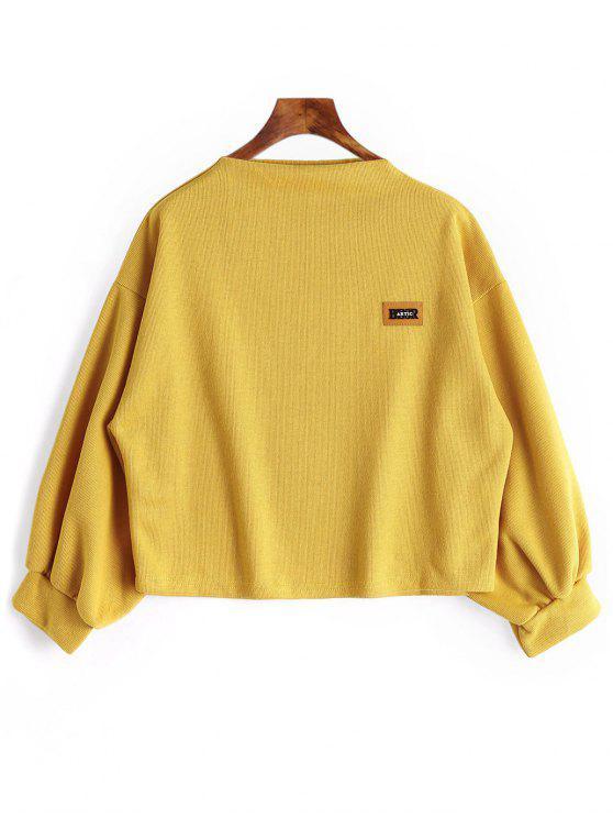 Abzeichen Patch Laterne Ärmel Plus Größe Sweatshirt - Ingwer-Gelb XL