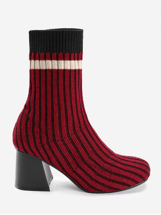 Block Heel Colorblocked Knöchelrippstrickstiefel - Rot 38